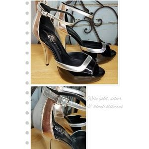Rock & Republic rose gold silver black heels